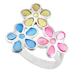 Multi color blister pearl enamel 925 silver flower ring size 7 a88796 c13044