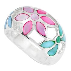 4.69gms multi color blister pearl enamel 925 silver flower ring size 7 c12996