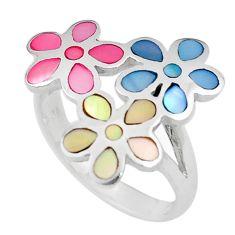 5.48gms multi color blister pearl enamel 925 silver flower ring size 8 c12620