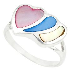 Multi color blister pearl enamel 925 silver heart ring size 8.5 c12909