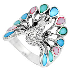 6.69gms multi color blister pearl enamel 925 silver peacock ring size 8.5 c12408
