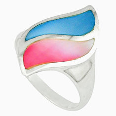 Multi color blister pearl enamel 925 silver ring size 8.5 a39938 c13058