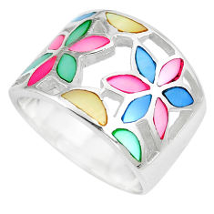 6.48gms multi color blister pearl enamel 925 silver ring size 5.5 c12984