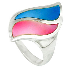 Multi color blister pearl enamel 925 silver ring jewelry size 7 a39921 c13047
