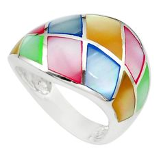 4.89gms multi color blister pearl enamel 925 silver ring size 6 a91943 c13029