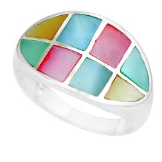 6.02gms multi color blister pearl enamel 925 silver ring size 8 a88562 c13023