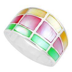 5.89gms multi color blister pearl enamel 925 silver ring size 9 a88705 c13035