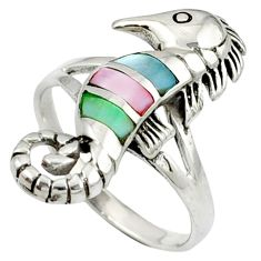 Multi color blister pearl enamel 925 silver seahorse ring size 9 c12182