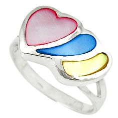 Multi color blister pearl enamel 925 sterling silver heart ring size 6.5 c12910