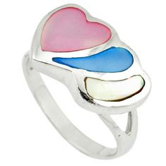 Multi color blister pearl enamel 925 sterling silver heart ring size 6 c12918
