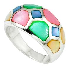 Multi color blister pearl enamel 925 sterling silver ring size 6.5 a39828 c13195