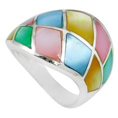 Multi color blister pearl enamel 925 sterling silver ring size 5.5 a39847 c13033