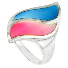Multi color blister pearl enamel 925 sterling silver ring size 6.5 a39930 c13046