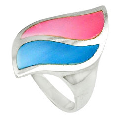 Multi color blister pearl enamel 925 sterling silver ring size 5.5 a39937 c13048