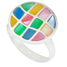Multi color blister pearl enamel 925 sterling silver ring size 8.5 a41711 c13050