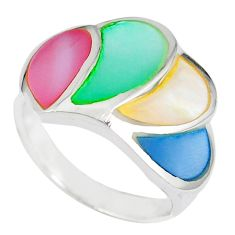 Multi color blister pearl enamel 925 sterling silver ring size 5.5 a41808 c13182