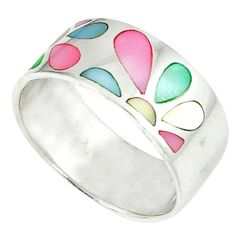 Multi color blister pearl enamel 925 sterling silver ring size 7.5 a46402 c13184