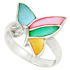 Multi color blister pearl enamel 925 sterling silver ring size 5.5 a46432 c13452