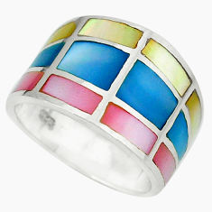 Multi color blister pearl enamel 925 sterling silver ring size 5.5 a49448 c13037