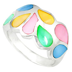 Multi color blister pearl enamel 925 sterling silver ring size 6.5 a49712 c13340