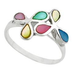 Multi color blister pearl enamel 925 sterling silver ring size 8.5 a64379 c13610