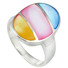 Multi color blister pearl enamel 925 sterling silver ring size 5.5 c12874
