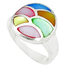 Multi color blister pearl enamel 925 sterling silver ring size 6.5 c12878