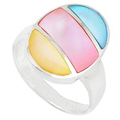 Multi color blister pearl enamel 925 sterling silver ring size 6.5 c12879