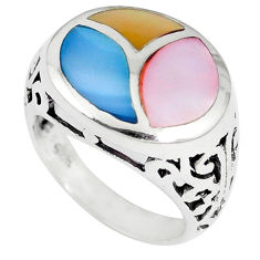 Multi color blister pearl enamel 925 sterling silver ring size 6.5 c12887