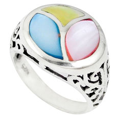 Multi color blister pearl enamel 925 sterling silver ring size 7.5 c12896