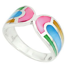 Multi color blister pearl enamel 925 sterling silver ring size 6.5 c12912
