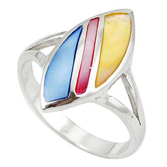 Multi color blister pearl enamel 925 sterling silver ring size 9.5 c12914
