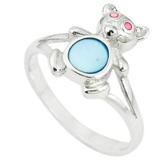 Multi color blister pearl enamel 925 sterling silver ring size 8.5 c12964