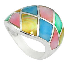 Multi color blister pearl enamel 925 sterling silver ring size 5.5 c12991