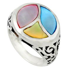 Multi color blister pearl enamel 925 sterling silver ring size 6.5 c21986
