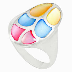 Multi color blister pearl enamel 925 sterling silver ring size 6.5 c21993