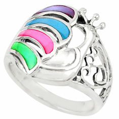 Multi color blister pearl enamel 925 sterling silver ring size 6.5 c21994