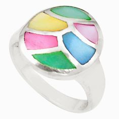 Multi color blister pearl enamel 925 sterling silver ring size 6.5 c21997