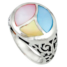 Multi color blister pearl enamel 925 sterling silver ring jewelry size 7 c12888