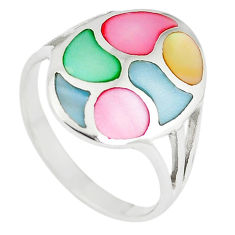 Multi color blister pearl enamel 925 sterling silver ring size 2 c12863