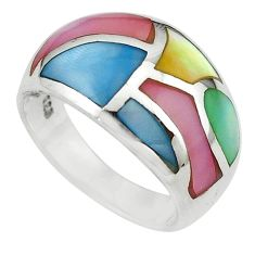 Multi color blister pearl enamel 925 sterling silver ring size 6 a64353 c13198