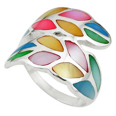 Multi color blister pearl enamel 925 sterling silver ring size 6 a64387 c13590