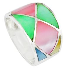 Multi color blister pearl enamel 925 sterling silver ring size 6 a66645 c13034