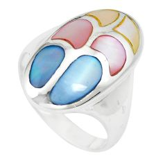 6.26gms multi color blister pearl enamel 925 sterling silver ring size 6 c12864