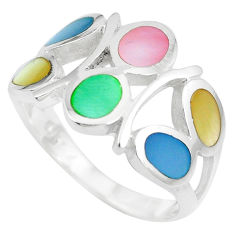 4.02gms multi color blister pearl enamel 925 sterling silver ring size 6 c12987