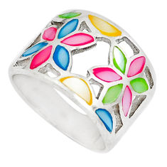 5.26gms multi color blister pearl enamel 925 sterling silver ring size 6 c22730