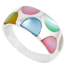 Multi color blister pearl enamel 925 sterling silver ring size 7 a41754 c13194