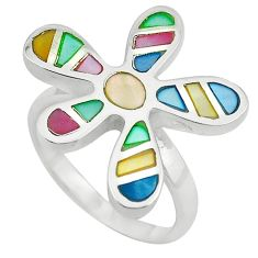 Multi color blister pearl enamel 925 sterling silver ring size 7 a64321 c13053