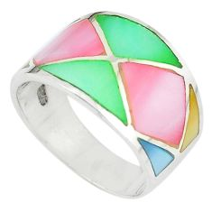 Multi color blister pearl enamel 925 sterling silver ring size 7 a67709 c13024