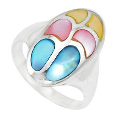5.69gms multi color blister pearl enamel 925 sterling silver ring size 7 c12871